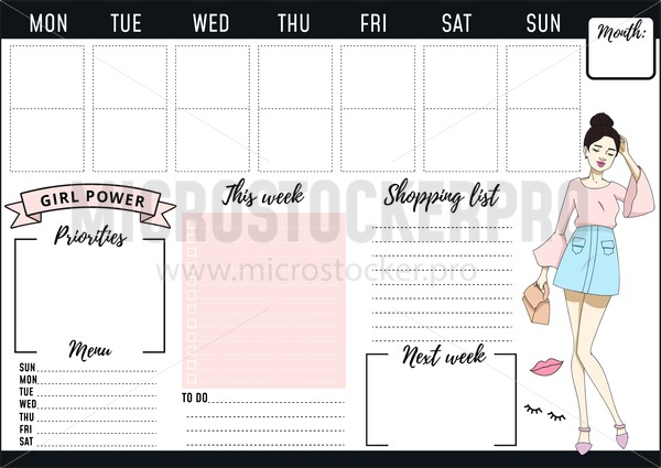 Weekly Planner Design With Fashion Elements And Young Women Vector Illustration Microstocker Pro