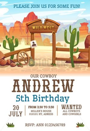 Wild west Birthday party invitation design template. Western poster concept for invitations, greeting cards etc. Cartoon wild west illustration - Vector illustrations for everyone | Microstocker.Pro