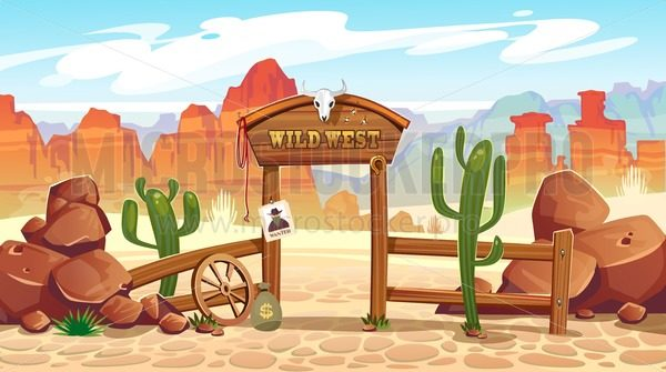 Wild west cartoon illustration with cowboy, skull, wanted poster and mountains. Vector western illustration - Vector illustrations for everyone | Microstocker.Pro