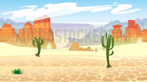 Wild west seamless pattern with mountains and cacti. Retro western background for games, ui, posters etc. Vector wild west illustration - Vector illustrations for everyone | Microstocker.Pro