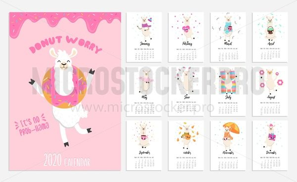 2020 calendar with alpaca. Cute calendar with llama character. Vector illustration - Vector illustrations for everyone | Microstocker.Pro