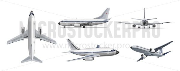 Airlines transportation concept. Vector airplane with yellow and blue stripes on white background. Airplane in top, side, front and bottom view. Vector aircraft illustration. - Vector illustrations for everyone | Microstocker.Pro