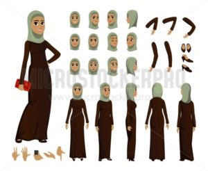Arab Woman character constructor set in flat style. Muslim girl avatars or icons with different emotions and moving arms and head. Arabic woman wearing traditional clothing front, rear, side view. Cartoon vector illustration. - Vector illustrations for everyone | Microstocker.Pro