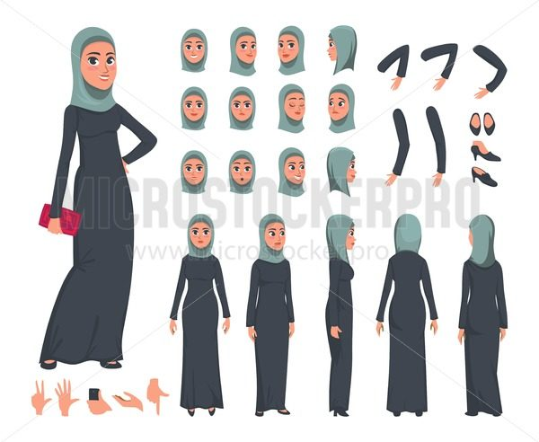 Arab Women character constructor set in flat style. Muslim girl DIY set with different facial expressions and moving arms and head. Arabic women wearing traditional clothing front, rear, side view. Flat vector illustration. - Vector illustrations for everyone | Microstocker.Pro