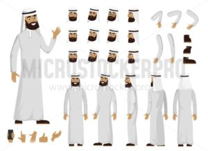 Arab man character constructor set in flat style. Muslim man DIY set with different facial expressions and moving arms and head. Arabic man wearing traditional clothing front, rear, side view. Flat vector illustration. - Vector illustrations for everyone | Microstocker.Pro