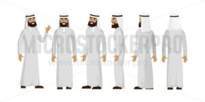 Arab muslim man character isolated on white background. Muslim man wearing traditional clothing front, rear, side view. Vector arab illustration in flat style. - Vector illustrations for everyone | Microstocker.Pro
