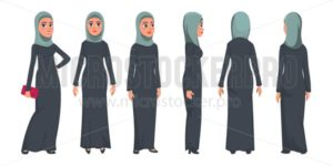 Arab muslim woman character isolated on white background. Muslim woman wearing traditional clothing front, rear, side view. Vector woman in hijab illustration in flat style. - Vector illustrations for everyone | Microstocker.Pro