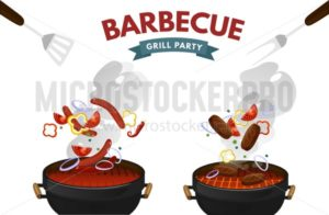 BBQ grill with steak, sausages and vegetables isolated on white background. Colorful barbecue equipment with food and fire. Vector grill illustration - Vector illustrations for everyone | Microstocker.Pro