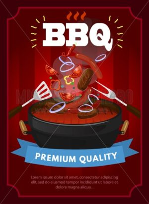 BBQ party design template with barbecue equipment, grilled sausages, steaks and vegetables. Colorful bbq design template. Vector illustration - Vector illustrations for everyone | Microstocker.Pro