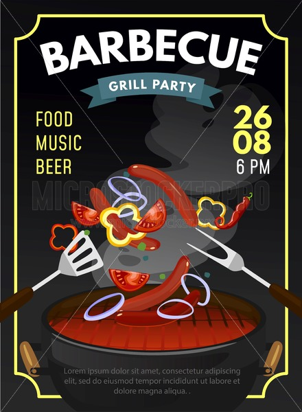 BBQ party design template with grilled sausages and vegetables. Grill time poster. Vector illustration - Vector illustrations for everyone | Microstocker.Pro