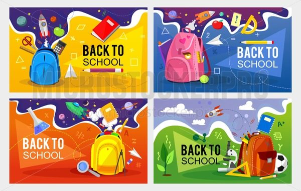 Back to school banner set. Colorful back to school templates for invitation, poster, banner, promotion,sale etc. School supplies cartoon illustration. Vector back to school design templates. - Vector illustrations for everyone | Microstocker.Pro
