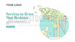 Boost business banner concept in linear style. Line art teamwork business concept with money on tree and workers. Landing page template Services to grow your business. Modern line art design concept of web page. - Vector illustrations for everyone | Microstocker.Pro