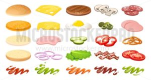 Burger ingredients collection. DIY burger elements isolated on white backgroud in cartoon style. Sliced vegetables, sauces, bun and cutlet for burger. Game elements for kitchen and cooking. Vector burger maker. - Vector illustrations for everyone | Microstocker.Pro