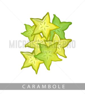 Carambole fruits isolated on white background. Summer vector fruit in cartoon style. - Vector illustrations for everyone | Microstocker.Pro