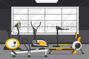 Cardio zone concept. Gym of fitness center interior design in flat style with Elliptical Machine Cross Trainer, Treadmill, Rowing Machine and Bike. Vector Gym Equipment for Cardio set. - Vector illustrations for everyone | Microstocker.Pro