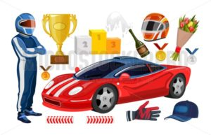 Cartoon racing elements collection. Winner cup, racing helmet, gloves, racer man, trophy medals, sport car. Vector racing set. - Vector illustrations for everyone | Microstocker.Pro