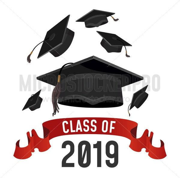 Class of 2019 graduation greeting card. Graduations caps thrown up with red ribbon. Grad vector poster. - Vector illustrations for everyone | Microstocker.Pro