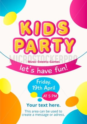 Colorful kids party invitation. Kids party concept. Colorful invitation for birthday, party etc. Vector illustration - Vector illustrations for everyone | Microstocker.Pro