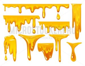 Dripping honey on white background. colorful collection of delicious honey drops. Melted honey isolated on white background. Vector illustration. - Vector illustrations for everyone | Microstocker.Pro