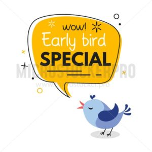 Early bird special trendy design with bird and geometric template. Vector early bird promotion illustration - Vector illustrations for everyone | Microstocker.Pro