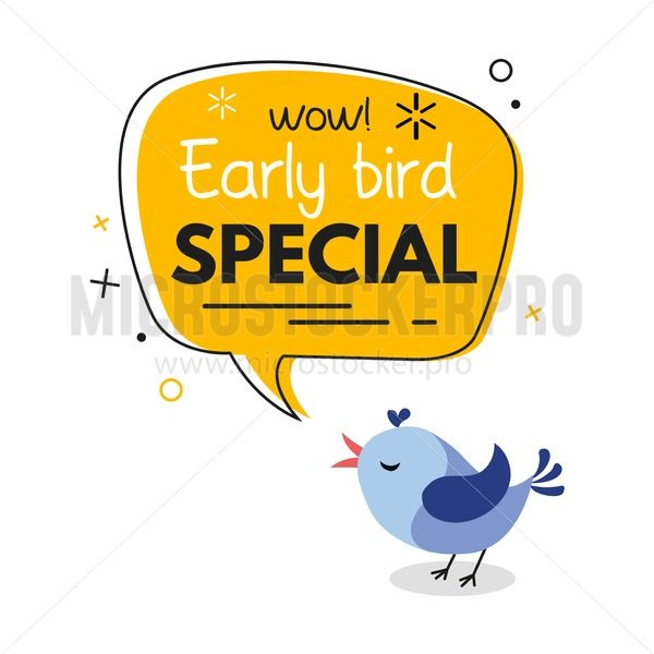 Early bird special trendy design with bird and geometric template. Vector early bird promotion illustration - Vector illustrations for everyone   Microstocker.Pro