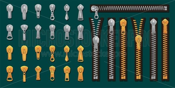 Golden and silver zippers and fasteners set. Vector Dye-to-Match Zippers for fashion design, prints etc. Cartoon pullers accessories for clothing, bags, shoes etc. Vector zippers collection - Vector illustrations for everyone | Microstocker.Pro