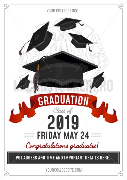 Graduation Class of 2019 greeting card or invitation design with flying hats and decorative elements. Congratulations graduates template. Vector illustration - Vector illustrations for everyone | Microstocker.Pro
