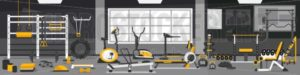 Gym zoning concept. Gym of fitness center interior design in cartoon style with crossfit, weights equipment and Elliptical Machine Cross Trainer, Treadmill, Rowing Machine and Bike. Vector Gym Equipment set. - Vector illustrations for everyone | Microstocker.Pro