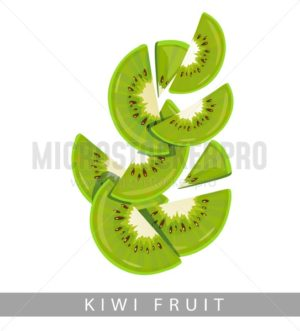 Kiwi fruits isolated on white background. Sliced kiwi vector in cartoon style. - Vector illustrations for everyone | Microstocker.Pro