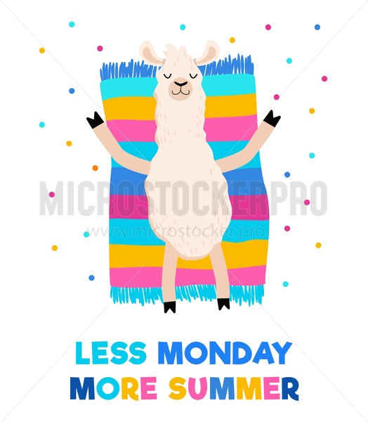 Less monday more summer colorful card with sunbathing llama on a towel or rug. Motivational summer travel print. Vector illustration for prints, cards, textile etc. - Vector illustrations for everyone | Microstocker.Pro