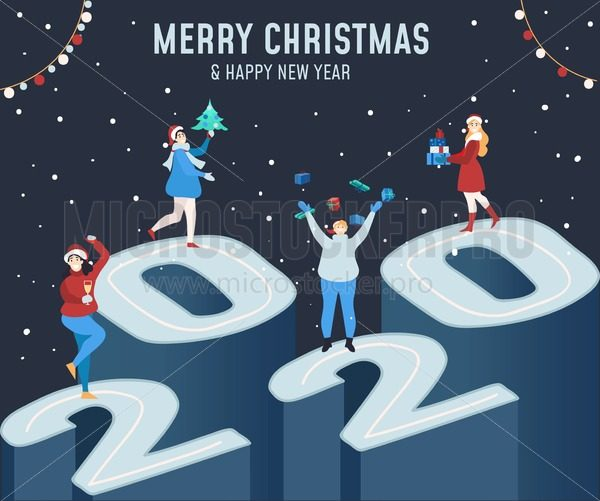 Merry Christmas and Happy new year greeting card with people dancing and celebrating on 2020 scene. 2020 New year banner, greeting card or invitation concept in flat style. Vector festive greeting card - Vector illustrations for everyone   Microstocker.Pro