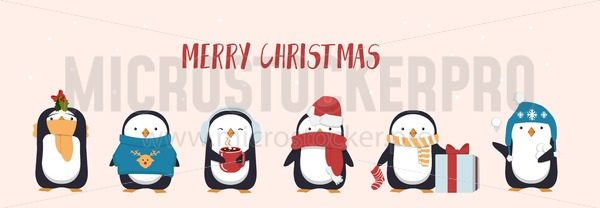 Merry Christmas greeting card with cute penguin. Seasonal character penguins wearing hats, scarf and holding gifts and mugs. Flat greeting card or banner design. Vector illustration - Vector illustrations for everyone | Microstocker.Pro
