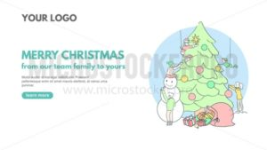 Merry Christmas line art banner design for corporate holiday greetings. Vector web banner concept with people decorating Christmas tree. Season's greetings vector illustration - Vector illustrations for everyone | Microstocker.Pro