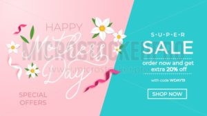 Mother's day promotion banner design template. Mother's day sale concept with ribbons and flowers. Vector illustration - Vector illustrations for everyone | Microstocker.Pro