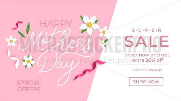 Mother's day promotion banner design template. Mother's day sale concept with ribbons and flowers. Vector illustration - Vector illustrations for everyone   Microstocker.Pro