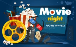 Movie night concept with popcorn, cinema tickets, drink, tape in cartoon style. Movie or cinema banner design. Vector movie promotional illustration - Vector illustrations for everyone | Microstocker.Pro