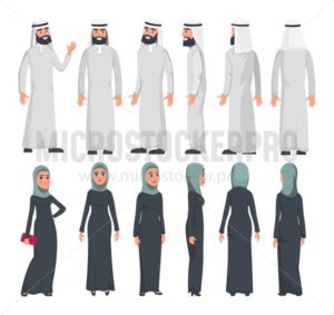 Muslim arab characters in flat style isolated on white background. Set of Arab man and women with different emotions and poses. Arab muslim couple front, rear, side view. Vector illustration - Vector illustrations for everyone | Microstocker.Pro