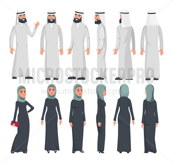 Muslim arab characters in flat style isolated on white background. Set of Arab man and women with different emotions and poses. Arab muslim couple front, rear, side view. Vector illustration - Vector illustrations for everyone   Microstocker.Pro