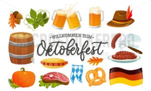 Oktoberfest food and symbols collection. Vector Oktoberfest objects and icons with lettering inscription Welcome to Oktoberfest. Beer, hat, meat, flag, hot dog, sausages, pumpkin etc. - Vector illustrations for everyone | Microstocker.Pro