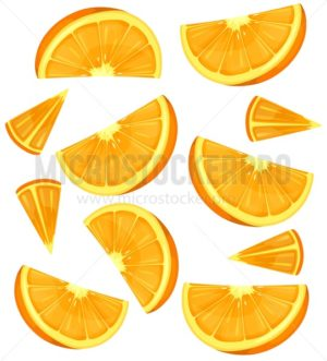 Oranges background or pattern isolated on white. Colorful summer oranges. Vector illustration - Vector illustrations for everyone | Microstocker.Pro
