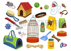 Pet supplies set - Vector illustrations for everyone | Microstocker.Pro