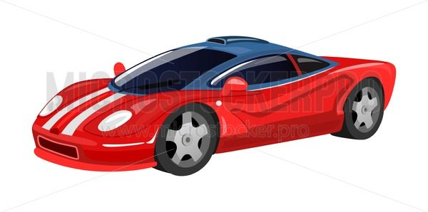 Racing car icon isolated on white background for print, cards, posters in cartoon style. Red vector racing sport car illustration - Vector illustrations for everyone | Microstocker.Pro