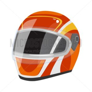 Racing helmet icon isolated on white background. Red sport safety helmet with white stripes in cartoon style. Vector illustration - Vector illustrations for everyone | Microstocker.Pro