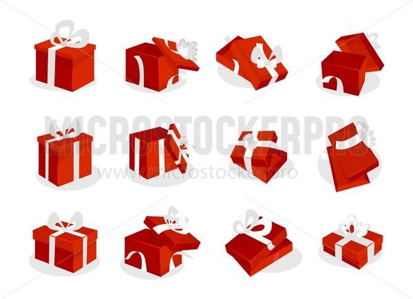 Red gift boxes set with white ribbons. Open and closed red gift box icons isolated on white background. Vector illustration - Vector illustrations for everyone | Microstocker.Pro