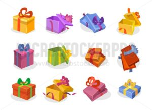 Set of gift boxes in cartoon style. Open and closed vector gift boxes collection. Orange, violet, blue,yellow, pink, green, red flat gift boxes isolated on white background. - Vector illustrations for everyone | Microstocker.Pro