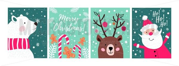 Set of hand drawn Christmas cards with candies, cookies, bear and Santa. Merry Christmas greeting cards. Vector illustration - Vector illustrations for everyone | Microstocker.Pro