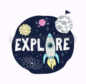 Space print concept. Explore space card with planets, stars and rocket. Cosmic greeting card or print design. Vector illustration - Vector illustrations for everyone | Microstocker.Pro