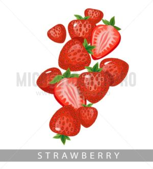 Strawberries isolated on white background.Summer berries vector in cartoon style. - Vector illustrations for everyone | Microstocker.Pro