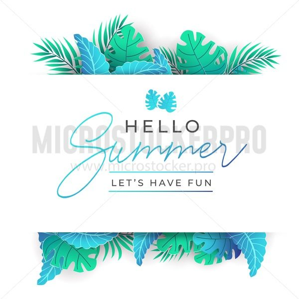 Summer Tropical Leaves design in trendy style with paper effect. Vector template for party, greeting card,wedding invitation etc. Summer background with exotic palm leaves. Vector illustration - Vector illustrations for everyone | Microstocker.Pro