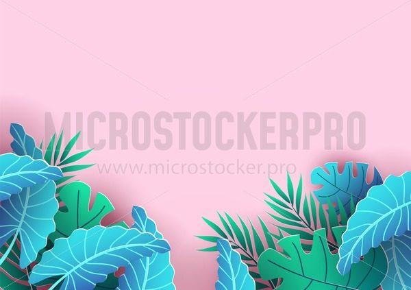 Summer background design with tropical elements. Pink background and leaves for sale banner, poster or voucher discount. Summer vector background. - Vector illustrations for everyone | Microstocker.Pro